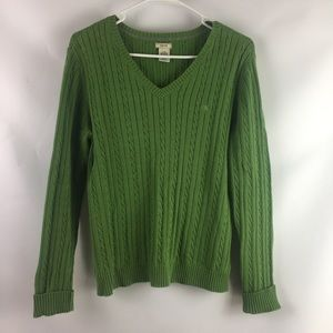 IZOD Cable Knit Sweater Green Large Women's V-Neck